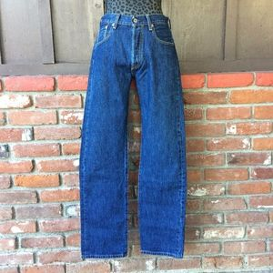 Levis 501 Button Fly Dark Blue Wash Jeans
